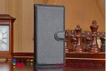 Фирменный чехол-книжка из качественной импортной кожи с подставкой застёжкой и визитницей для Sony Xperia M4 Aqua E2303/E2306/E2312/E2333 черный