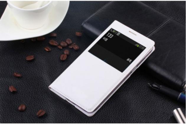 Фирменный оригинальный чехол-книжка для Sony Xperia E4/ E4 Dual E2105/E2115 белый кожаный с окошком для входящих вызовов