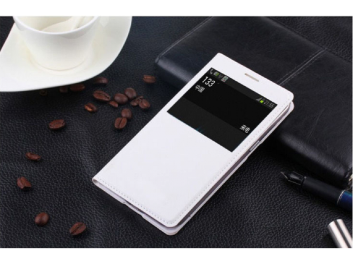 Фирменный оригинальный чехол-книжка для Sony Xperia E4/ E4 Dual E2105/E2115 белый кожаный с окошком для входящ..