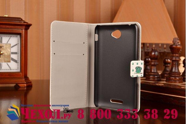 """Фирменный уникальный необычный чехол-книжка для Sony Xperia E4/ E4 Dual """"тематика Сова"""""""