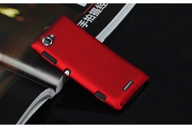 Фирменная задняя панель-крышка-накладка из тончайшего и прочного пластика для Sony Xperia L C2105 красная