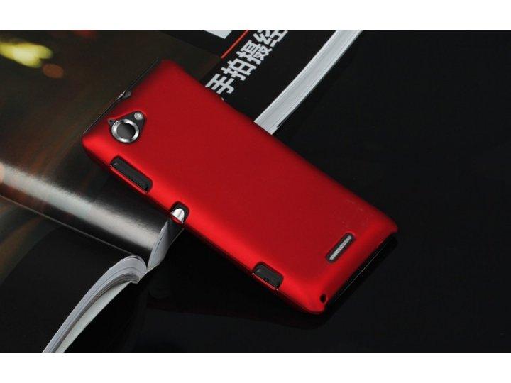 Фирменная задняя панель-крышка-накладка из тончайшего и прочного пластика для Sony Xperia L C2105 красная..