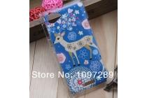 Фирменная пластиковая задняя панель-чехол-накладка с безумно красивым расписным рисунком Оленя в цветах для Sony Xperia L (C2105)