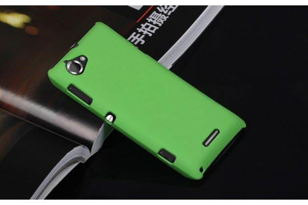 Фирменная необычная уникальная пластиковая задняя панель-чехол-накладка для Sony Xperia L (C2105) зелёная