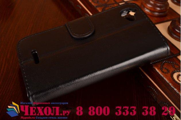 Фирменный чехол-книжка из качественной импортной кожи с подставкой застёжкой и визитницей для Sony Xperia L S36h (C2105) черный