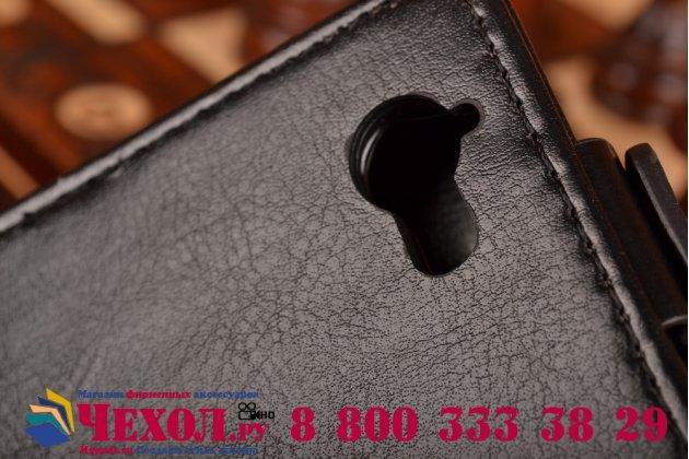 Фирменный оригинальный вертикальный откидной чехол-флип для Sony Xperia L S36h (C2105) черный кожаный
