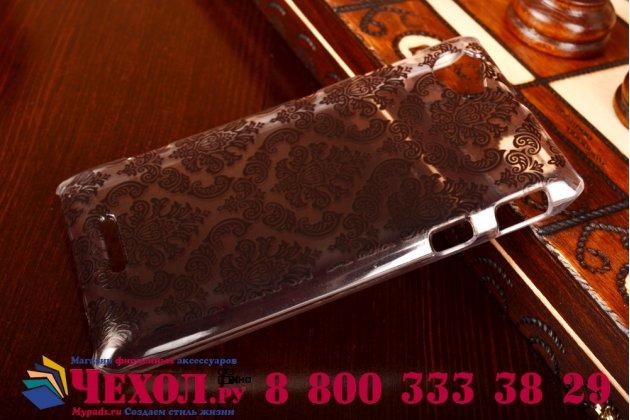 Фирменная роскошная задняя панель-чехол-накладка с расписным узором для Sony Xperia L (C2105) прозрачная черная
