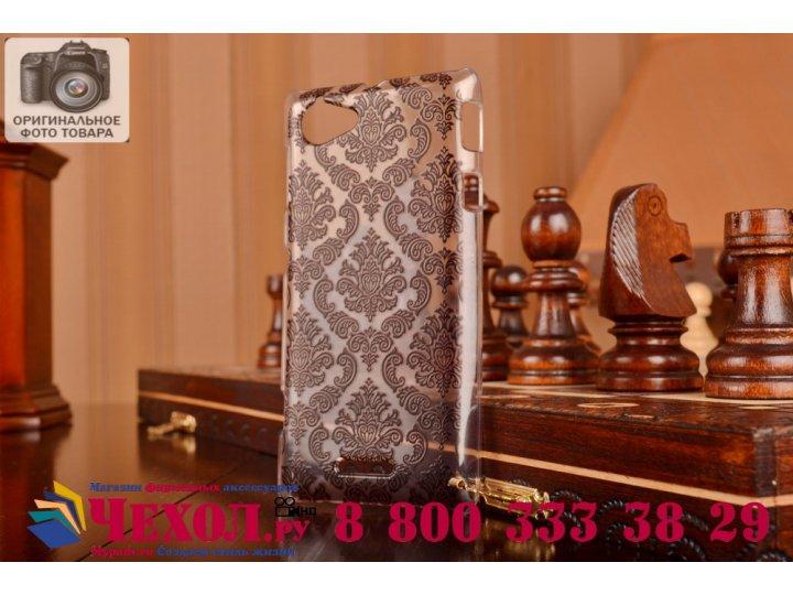 Фирменная роскошная задняя панель-чехол-накладка с расписным узором для Sony Xperia L (C2105) прозрачная черна..
