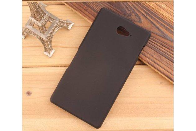 Фирменная задняя панель-крышка-накладка из тончайшего и прочного пластика для Sony Xperia M2 Aqua D2403 черная