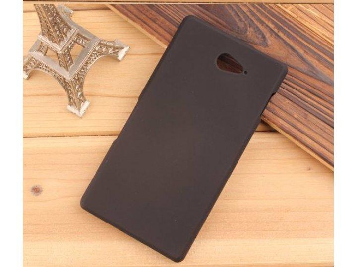 Фирменная задняя панель-крышка-накладка из тончайшего и прочного пластика для Sony Xperia M2 Aqua D2403 черная..