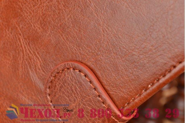 Фирменный чехол-книжка из качественной импортной кожи с подставкой и визитницей для Sony Xperia M2 Aqua D2403 коричневый
