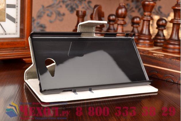 Фирменный чехол-книжка из качественной импортной кожи с подставкой и визитницей для Sony Xperia M2 Aqua D2403 белый