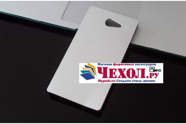 Фирменная металлическая задняя панель-крышка-накладка из тончайшего облегченного авиационного алюминия для Sony Xperia M2 Aqua D2403 (S50h) серебристая