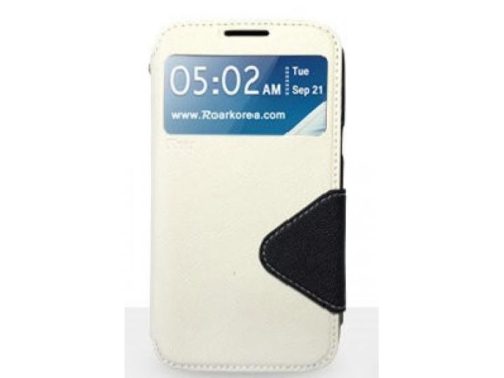 Фирменный оригинальный чехол-книжка для Sony Xperia M2 /M2 Dual Sim D2303/D2322 белый кожаный с окошком для вх..