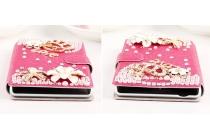 Фирменный роскошный чехол-книжка безумно красивый декорированный бусинками и кристаликами на Sony Xperia M2 /M2 Dual Sim D2303/D2322
