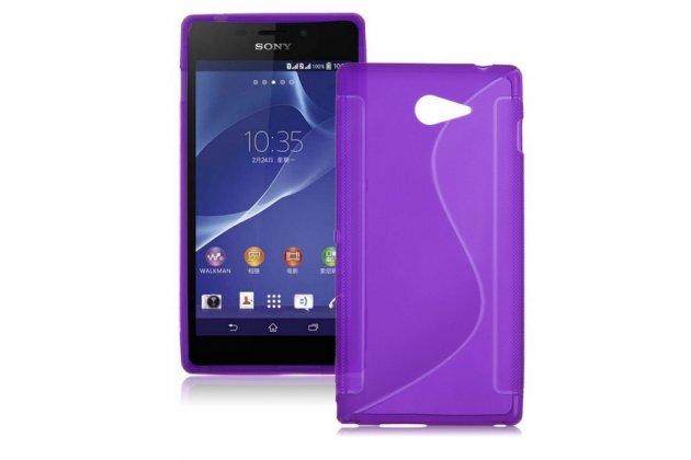 Фирменная ультра-тонкая полимерная из мягкого качественного силикона задняя панель-чехол-накладка для Sony Xperia M2 /M2 Dual Sim D2303/D2322 фиолетовая