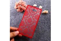 Фирменная роскошная задняя панель-чехол-накладка с расписным узором для Sony Xperia M2 /M2 Dual Sim D2303/D2322 прозрачная красная