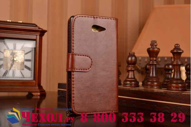 Фирменный чехол-книжка из качественной импортной кожи с подставкой застёжкой и визитницей для Сони Иксперия М2 Дуал Сим коричневый