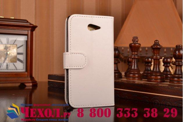 Фирменный чехол-книжка из качественной импортной кожи с подставкой застёжкой и визитницей для Сони Иксперия М2 Дуал Сим белый