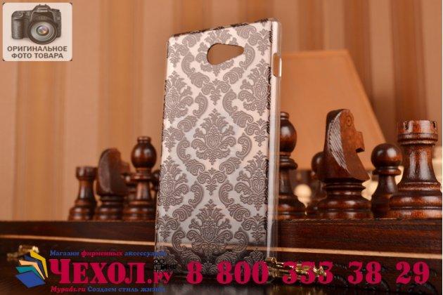 Фирменная роскошная задняя панель-чехол-накладка с расписным узором для Sony Xperia M2 /M2 Dual Sim D2303/D2322 прозрачная черная