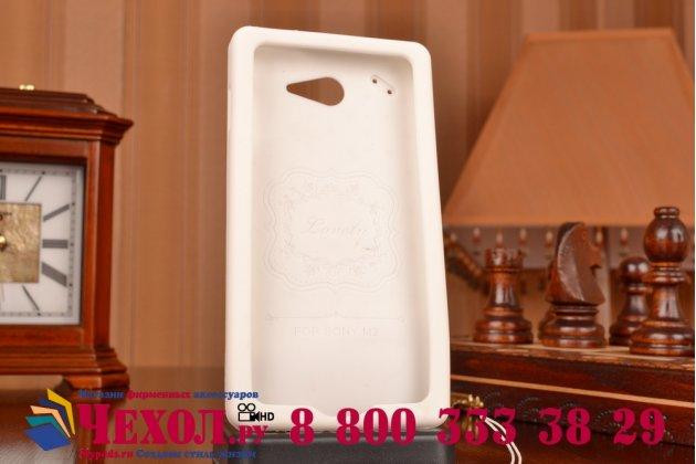 """Фирменная необычная уникальная полимерная мягкая задняя панель-чехол-накладка для Sony Xperia M2 /M2 Dual Sim D2303/D2322 """"тематика Андроид в Белом Шоколаде"""""""
