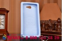 """Фирменная необычная уникальная полимерная мягкая задняя панель-чехол-накладка для Sony Xperia M2 /M2 Dual Sim D2303/D2322 """"тематика Андроид в черничном шоколаде"""""""