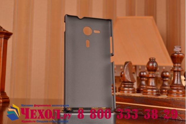 Фирменная задняя панель-крышка-накладка из тончайшего и прочного пластика для Sony Xperia SP M35h (C5302/C5303) черная