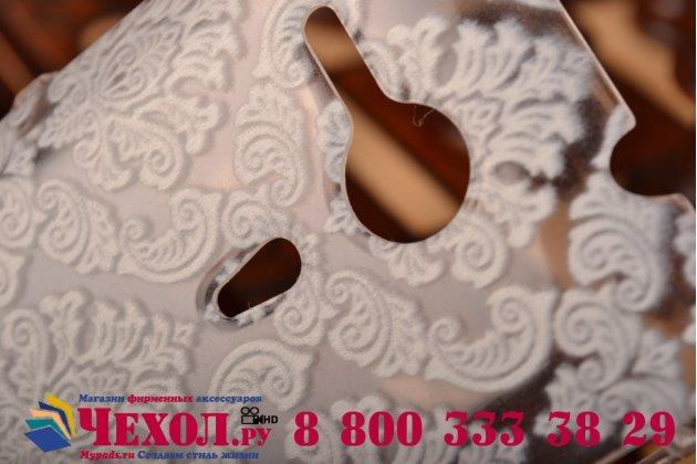 Фирменная роскошная задняя панель-чехол-накладка с расписным узором для Sony Xperia SP M35h (C5302/C5303) прозрачная белая