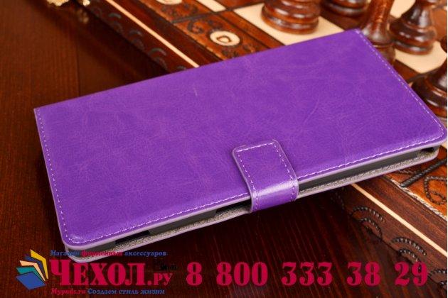 Фирменный чехол-книжка из качественной импортной кожи с подставкой застёжкой и визитницей для Sony Xperia T2 Ultra/ T2 Ultra Dual D5303/D5322 фиолетовый