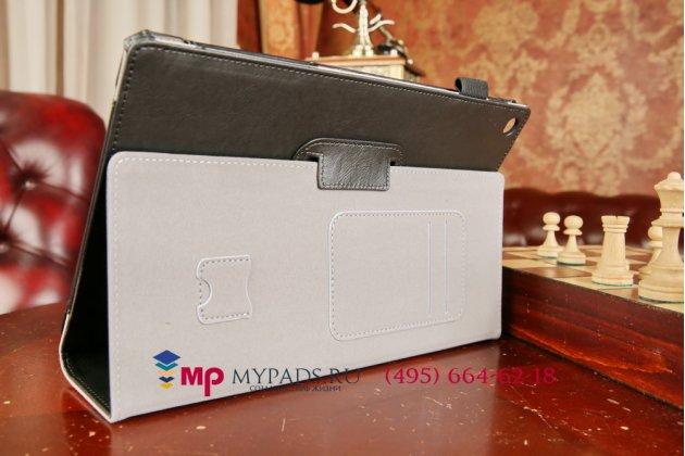 """Фирменный чехол обложка бизнес класса для Sony Xperia Tablet Z 2 SGP511/512/521 с визитницей и держателем для руки черный натуральная кожа """"Prestige"""" Италия"""