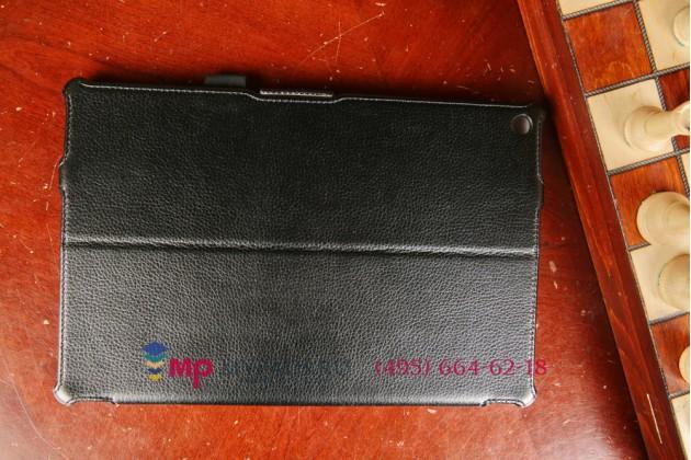 """Фирменный чехол для Sony Xperia Tablet Z 2 SGP511/512/521 с мульти-подставкой и держателем для руки черный натуральная кожа """"Deluxe"""" Италия"""