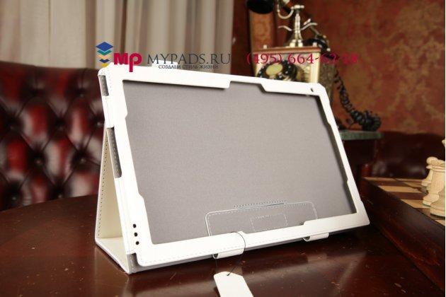 """Фирменный чехол обложка для Sony Xperia Tablet Z 2 SGP511/512/521 с визитницей и держателем для руки белый натуральная кожа """"Prestige"""" Италия"""
