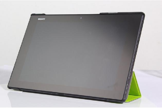 """Фирменный умный чехол самый тонкий в мире для Sony Xperia Tablet Z2 """"Il Sottile зеленый пластиковый Италия"""