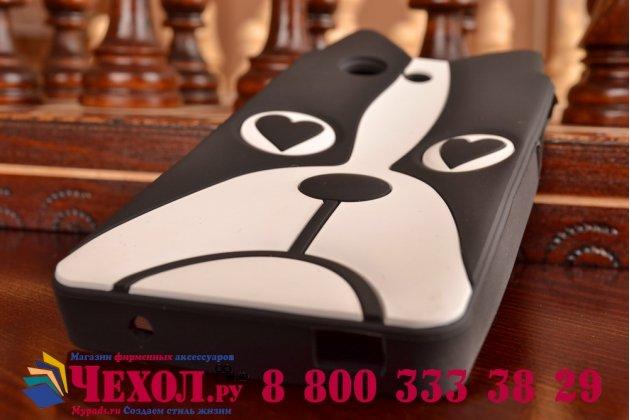 """Фирменная задняя панель-чехол-накладка с объёмным 3D изображением для Sony Xperia Z3 Compact D5803 """"тематика черно-белая Собака"""""""