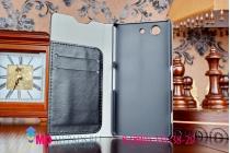 Фирменный чехол-книжка из качественной импортной кожи для Sony Xperia Z3 Compact D5803 черный