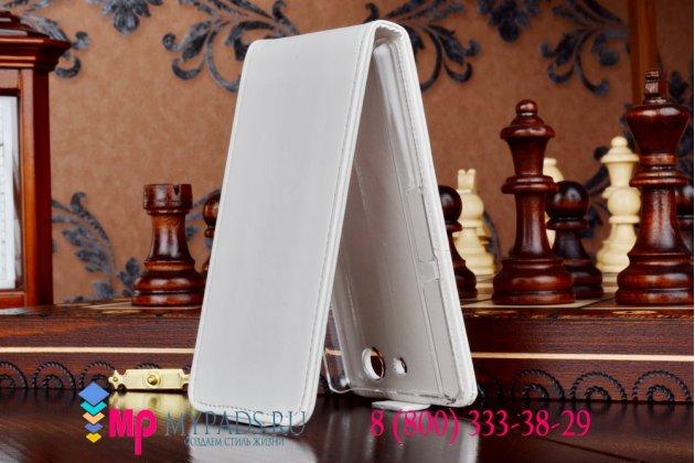 Фирменный вертикальный откидной чехол-флип для Sony Z3 Compact D5803 белый кожаный