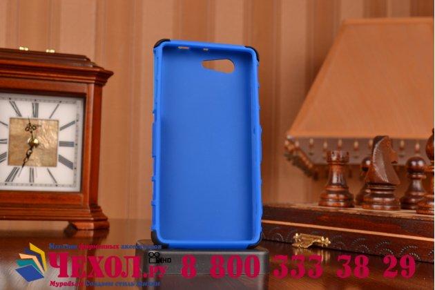 Противоударный усиленный грязестойкий фирменный чехол-бампер-пенал для Sony Xperia Z3 Compact D5803 синий