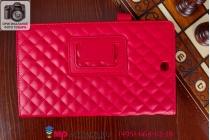Стёганая кожа в ромбик с узором чехол-обложка для Sony Xperia Z3 Tablet Compact (SPG611/SGP621RU) красный кожаный
