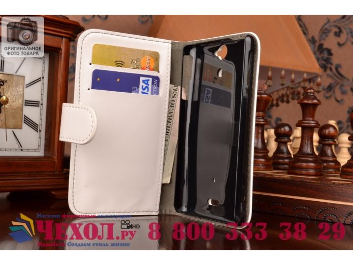 Фирменный чехол-книжка из качественной импортной кожи с подставкой застёжкой и визитницей для Sony Xperia V (L..