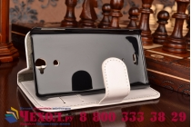 Фирменный чехол-книжка из качественной импортной кожи с подставкой застёжкой и визитницей для Sony Xperia V (LT25i)  белый