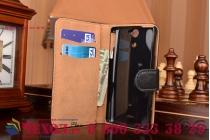Фирменный чехол-книжка из качественной импортной кожи с подставкой застёжкой и визитницей для Сони Иксперия Ви черный