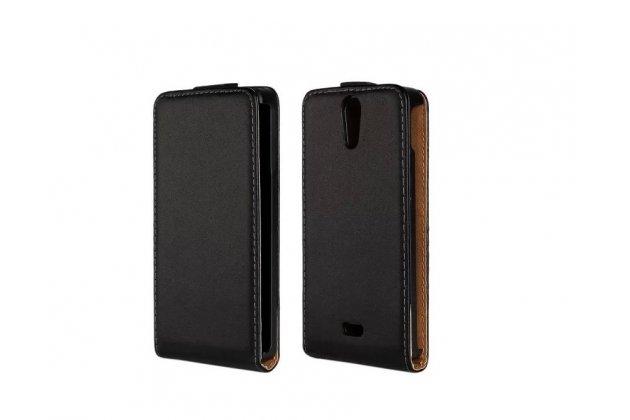 """Фирменный оригинальный вертикальный откидной чехол-флип для Sony Xperia V (LT25i) черный кожаный """"Prestige"""" Италия"""