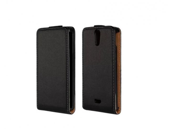 Фирменный оригинальный вертикальный откидной чехол-флип для Sony Xperia V (LT25i) черный кожаный