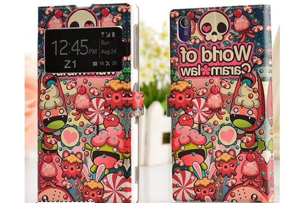 Фирменный чехол-книжка с безумно красивым расписным кислотным-мульти-рисунком на Sony Xperia Z1 (C6903) с окошком для звонков