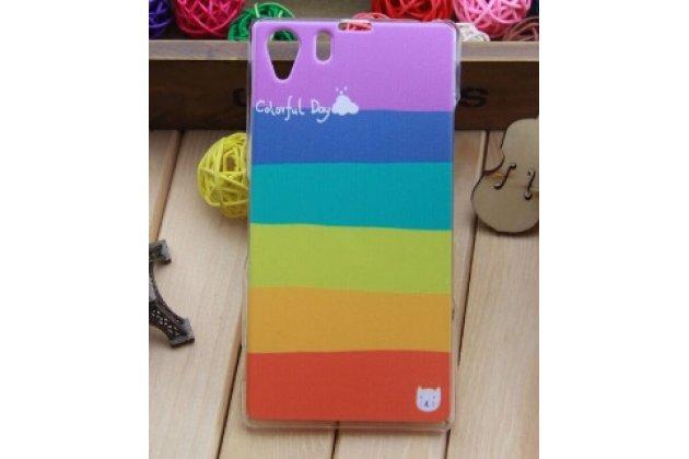 """Фирменная необычная из легчайшего и тончайшего пластика задняя панель-чехол-накладка для Sony Xperia Z1 (C6903) """"тематика Все цвета Радуги"""""""