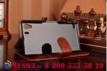 Фирменный чехол-книжка из качественной импортной кожи с подставкой и визитницей для Sony Xperia Z1 (C6903) коричневый