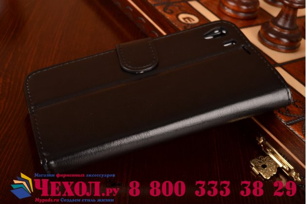 Фирменный чехол-книжка из качественной импортной кожи с подставкой застёжкой и визитницей для Сони Иксперия Зет 1 Один Ц6903 черный