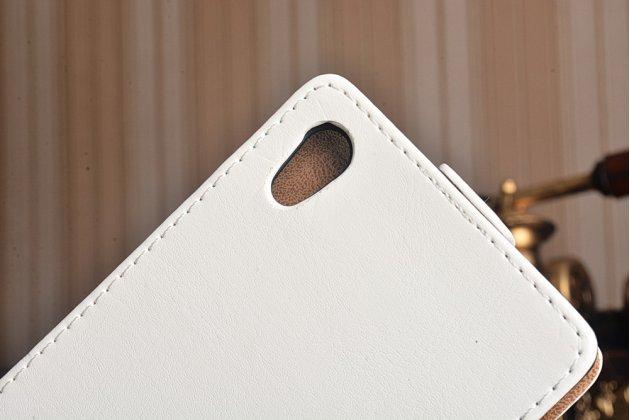 """Фирменный оригинальный вертикальный откидной чехол-флип для Sony Xperia Z1 (C6903) белый кожаный """"Prestige"""" Италия"""