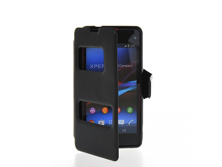 Фирменный оригинальный чехол-книжка для Sony Xperia Z1 Compact D5503 черный кожаный с окошком для входящих выз..