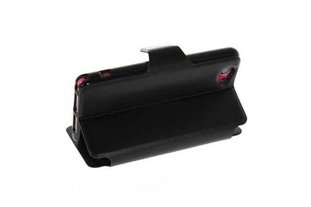 Фирменный оригинальный чехол-книжка для Sony Xperia Z1 Compact D5503 черный кожаный с окошком для входящих вызовов и свайпом